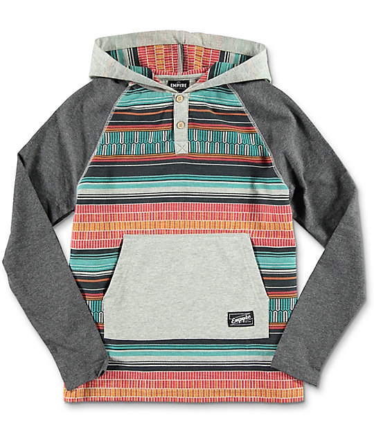 Empyre Boys Burner Grey & Tribal Hooded Shirt
