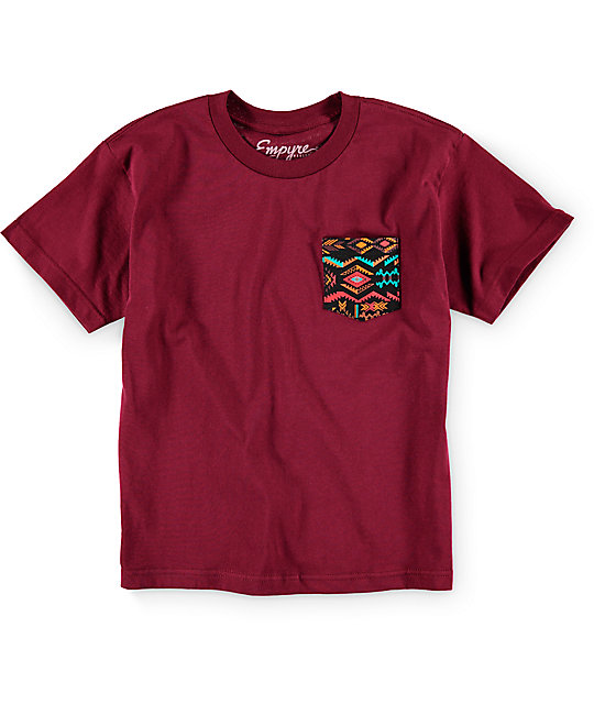 Empyre Boys Crazy Maroon Pocket T-Shirt