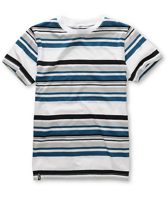 Empyre Boys Dag Blue & White Stripe Crew Neck T-Shirt