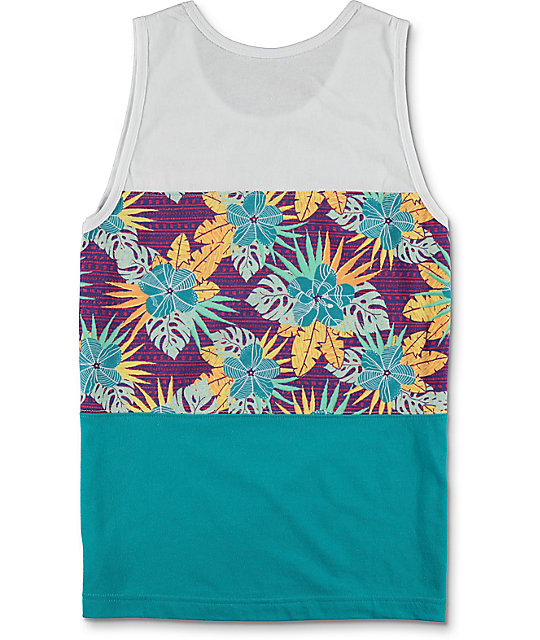 Empyre Boys Encore White, Turquoise & Hawaiian Tank Top