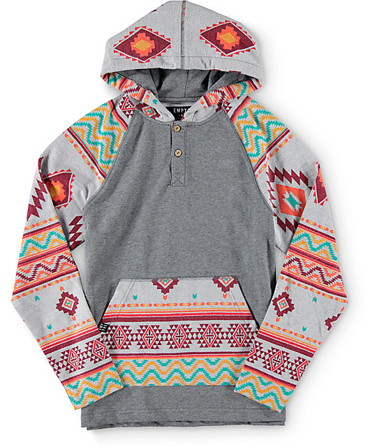 Empyre Boys Feelin Good Tribal Hooded Henley Shirt