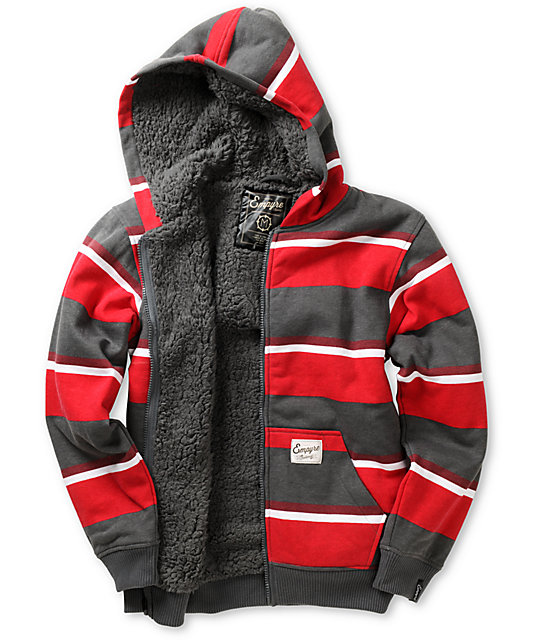 Empyre Boys Mission Grey & Red Stripe Sherpa Fleece Hoodie