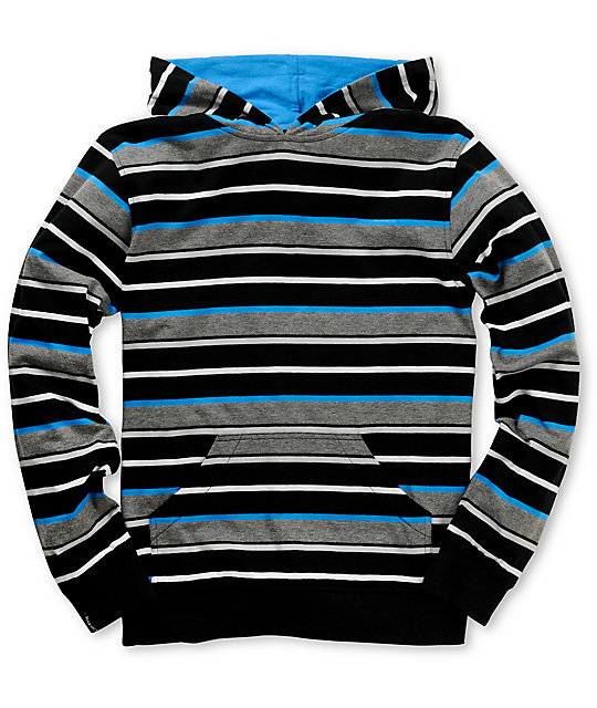 Empyre Boys QuitnU Black & Blue Stripe Knit Hoodie