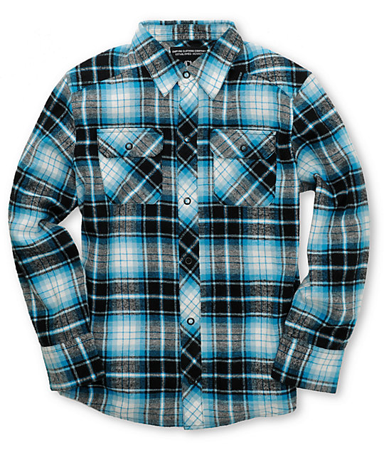 Empyre Boys Riot Turquoise Flannel Shirt