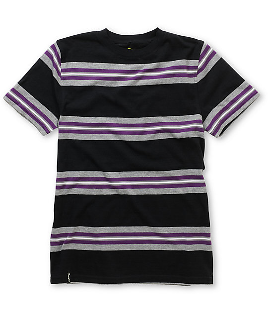 Empyre Boys Skeet Black & Purple Stripe Crew Neck T-Shirt
