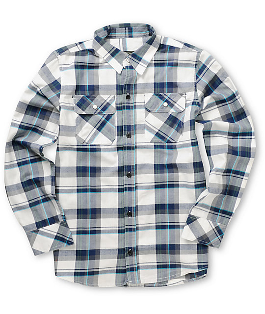 Empyre Boys Surge Blue & White Plaid Button Up Shirt