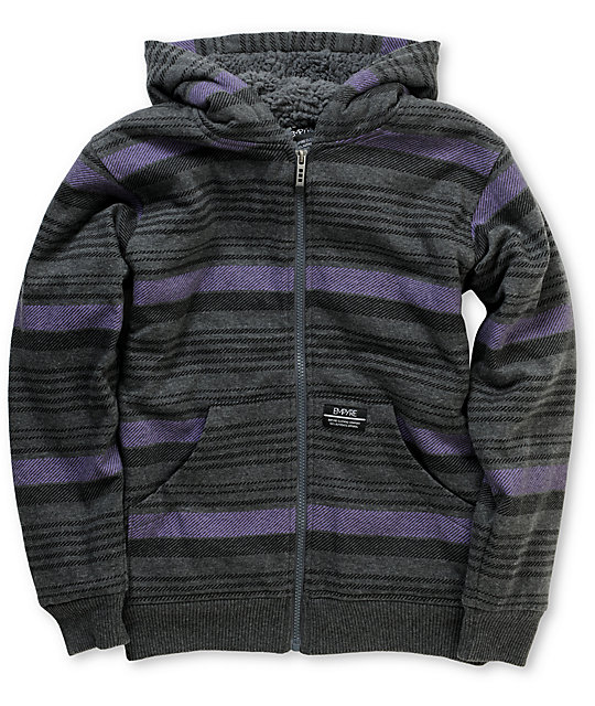 Empyre Boys Whilcom Charcoal Stripe Sherpa Fleece Hoodie