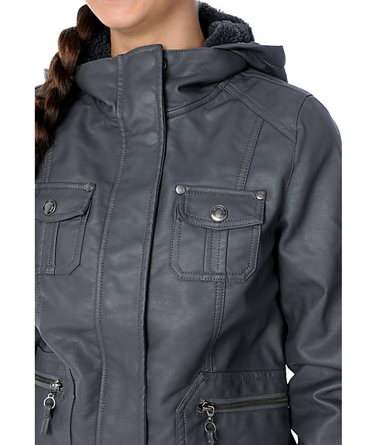 Empyre Brazen Grey Faux Leather Hooded Bomber Jacket