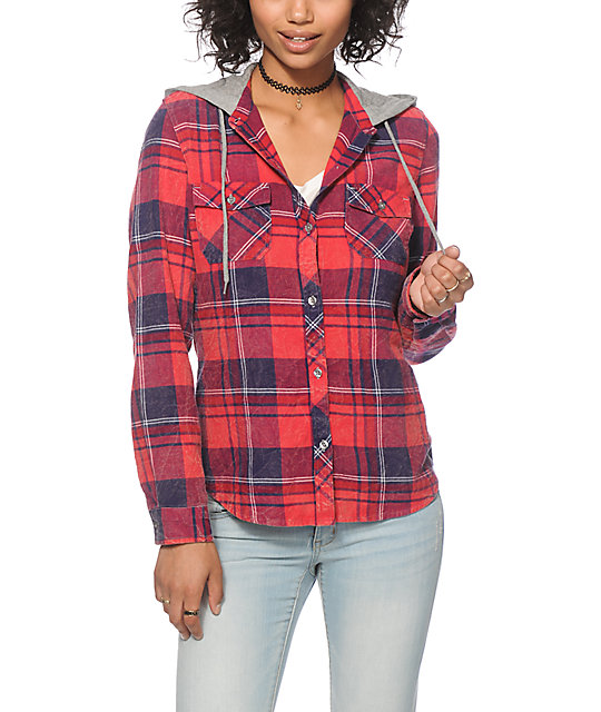 Empyre bristol red navy mineral wash hooded flannel at for How to wash flannel shirts