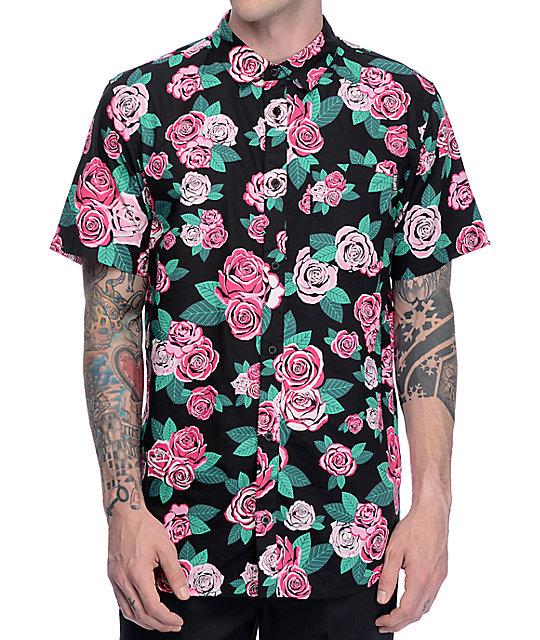 Buds Pink Rose Black Short Sleeve Woven Shirt