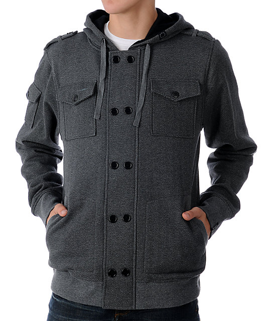 Empyre Bunker Heathered Charcoal Fleece Hoodie Jacket