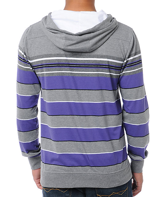 Empyre Busta Purple Striped Knit Pullover Hooded Shirt