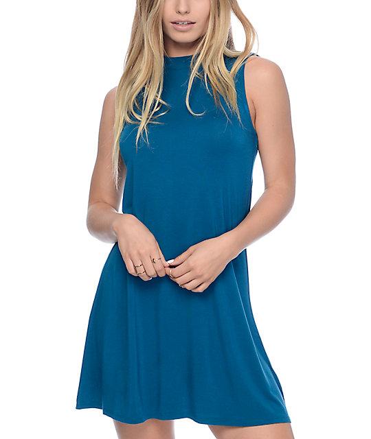 Empyre Buttercup Blue Mock Neck Tank Dress