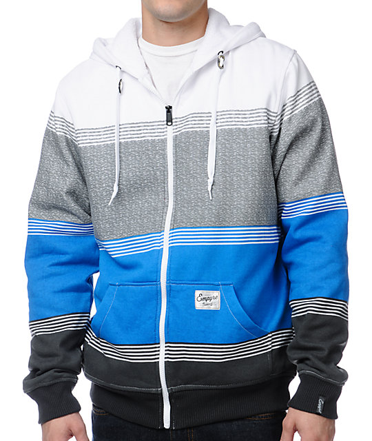 Empyre Camden Grey Striped Sherpa Fleece Hoodie