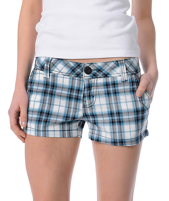 Empyre Candid White & Blue Plaid Shorts