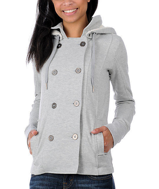 Canopy Grey Pea Coat Sweatshirt Jacket
