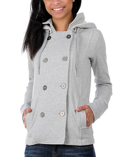 Empyre Canopy Grey Pea Coat Sweatshirt Jacket at Zumiez : PDP