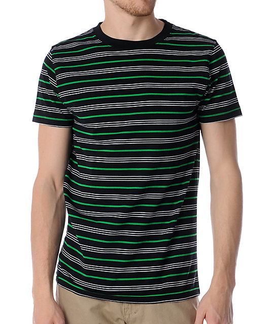 Empyre Cantina Black, Green & White Striped Knit T-Shirt