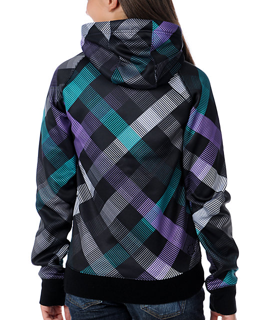 Empyre Canyon Black Plaid Tech Fleece Jacket