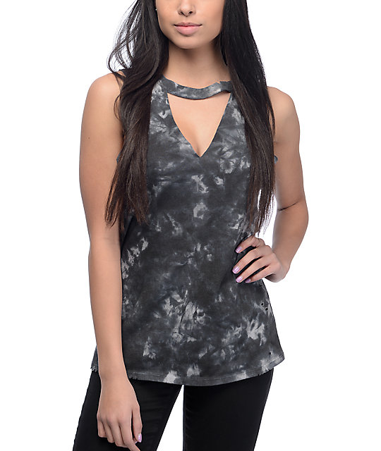 Empyre Canyon Black Tie Dye Cut Out Destroyed Muscle Tank