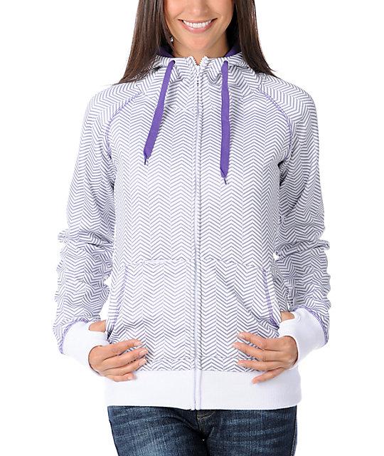 Empyre Canyon Purple & Grey Herringbone Tech Fleece Jacket