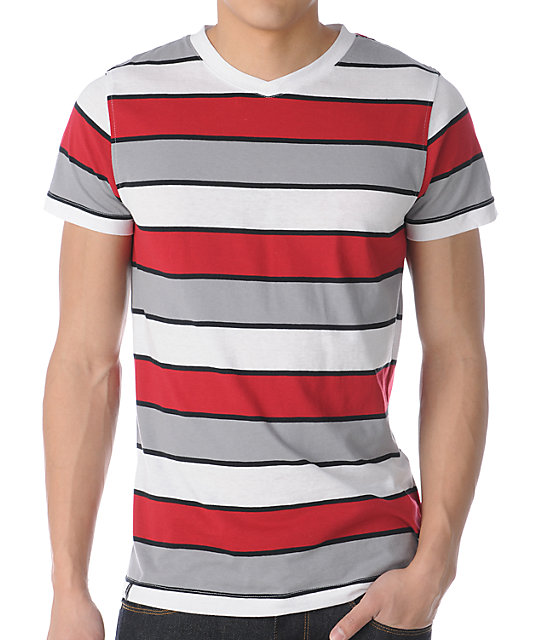 Empyre Carnie Red & Grey Striped V-Neck T-Shirt