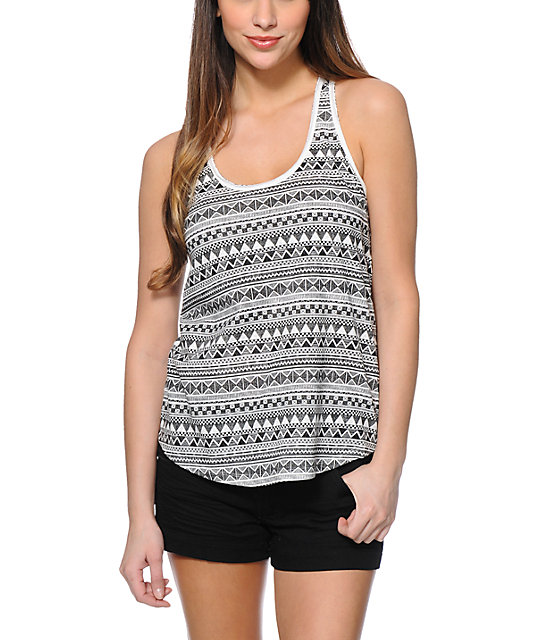Empyre Casey Black & White Tribal Print Tank Top