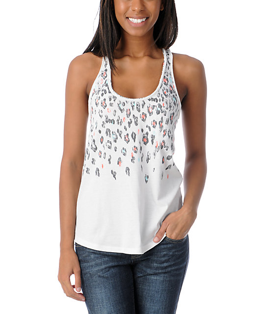 Empyre Casey Leopard Print White Tank Top