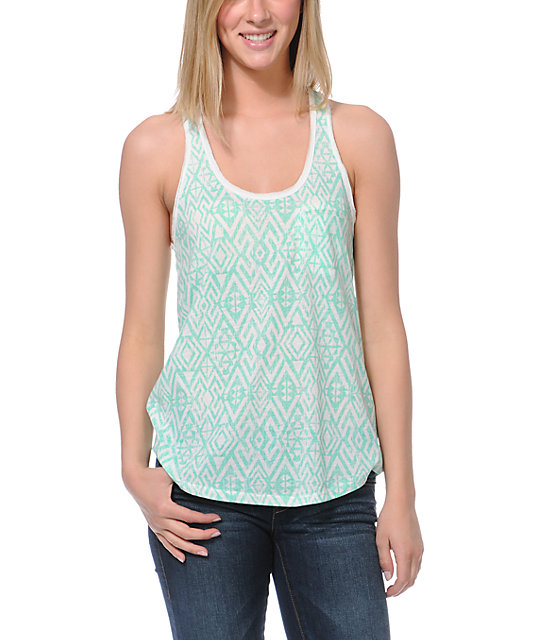 Empyre Casey Neon Mint Tribal Print Tank Top