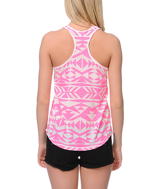 Empyre Casey Neon Pink Tribal Print Tank Top