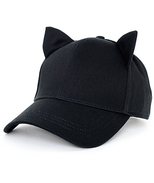 cat ear baseball cap ebay black onyx hat front