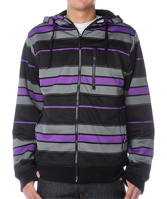 Empyre Catastrophe Black & Purple Stripe Tech Fleece Jacket