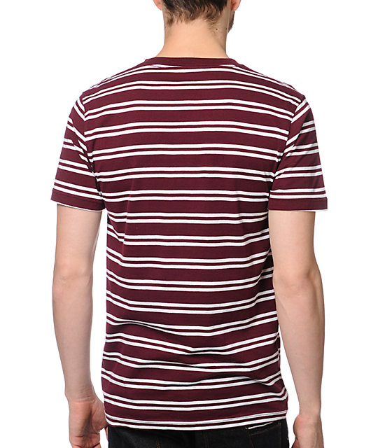 Empyre Chalk It Dark Red Striped V-Neck T-Shirt