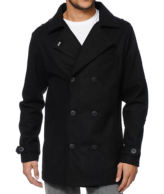 Empyre Chambers Black Wool Pea Coat