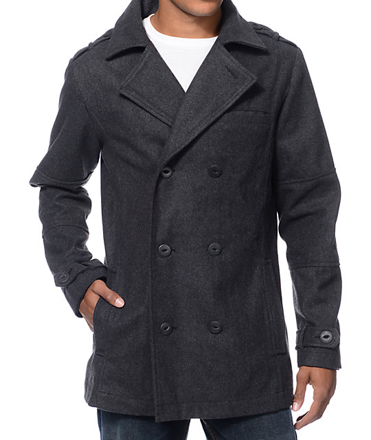 Empyre Chambers Charcoal Wool Pea Coat at Zumiez : PDP