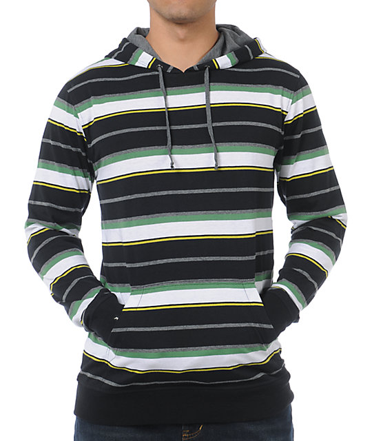 Empyre Champ Black Stripe Henley Pullover Hooded Shirt