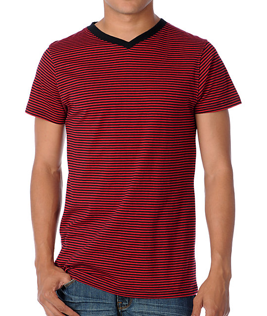 Empyre Chanced Red Stripe V-Neck T-Shirt