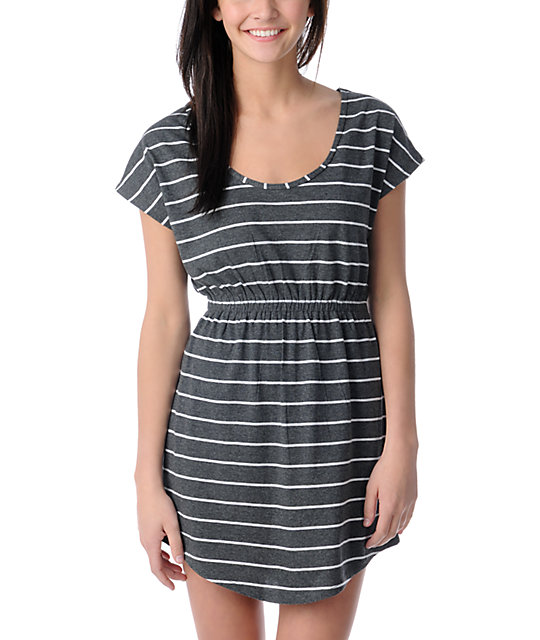Empyre Charcoal & White Short Sleeve Tee Dress