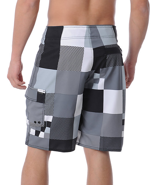 Empyre Checkmate Grey 4-Way Stretch Board Shorts