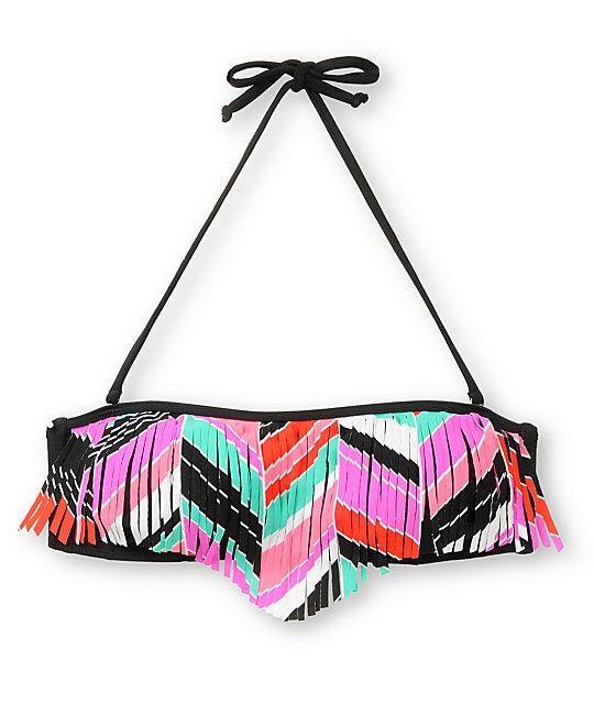 Empyre Chevron Stripe Fringe Bandeau Bikini Top