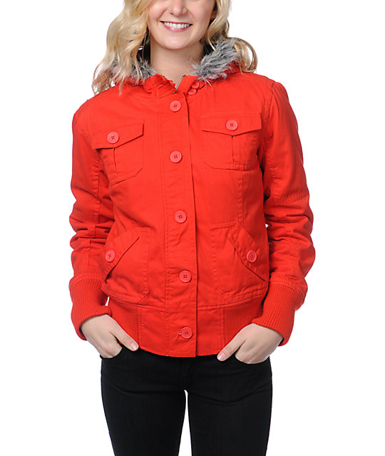 Empyre Cicada Fiery Red Canvas Bomber Jacket