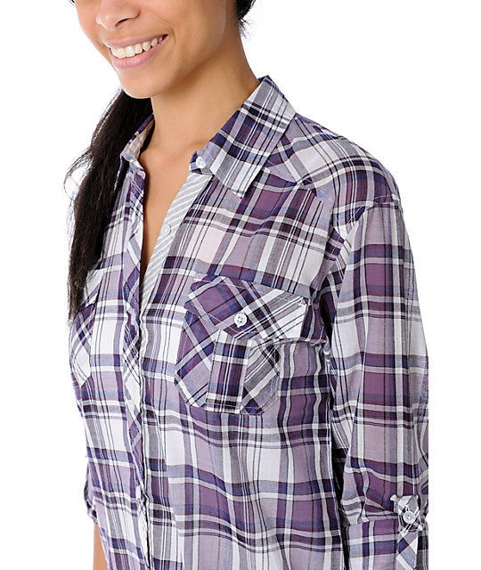 Empyre Cinder White & Purple Plaid Woven Shirt