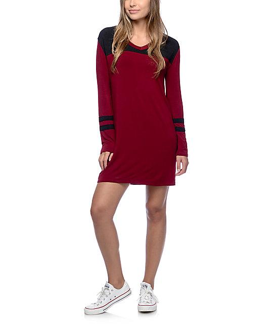 Empyre coco burgundy long sleeve t shirt dress zumiez for Burgundy long sleeve t shirt womens