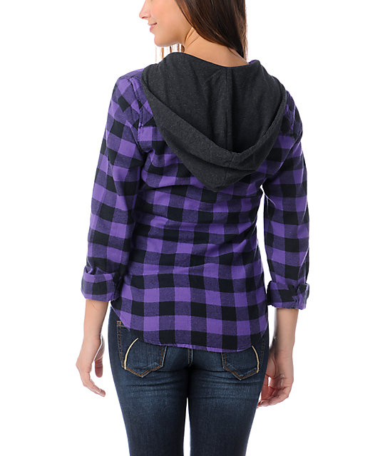 Empyre Conifer Purple Buffalo Plaid Hooded Flannel Shirt
