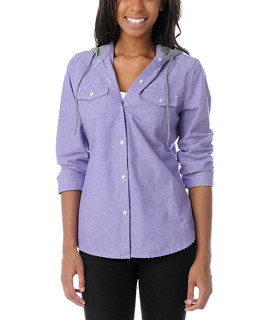 Empyre Conifer Purple Chambray Hooded Flannel Shirt