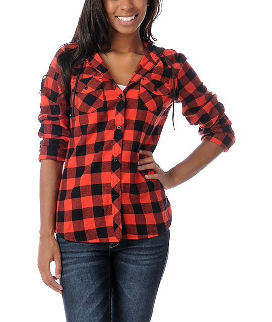 Empyre conifer red buffalo plaid hooded flannel shirt for Red buffalo flannel shirt