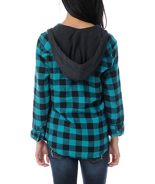 Empyre Conifer Teal Buffalo Plaid Hooded Flannel Shirt