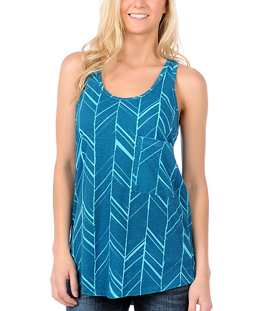 Empyre Contour Blue Pattern Zip Tank Top