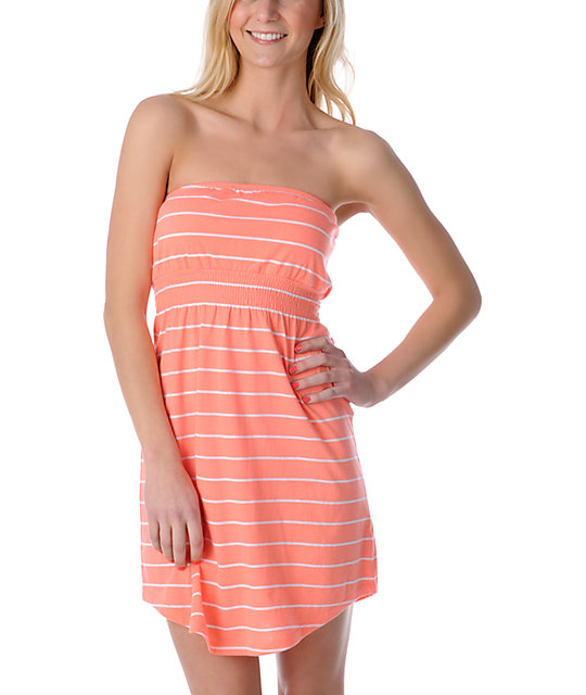 Empyre Coral & White Stripe Tube Dress