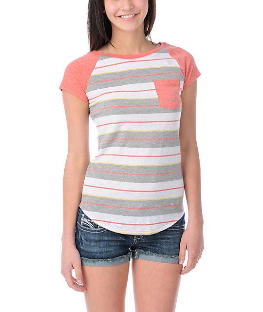 Empyre Coral Stripe Petra Cap Sleeve T-Shirt